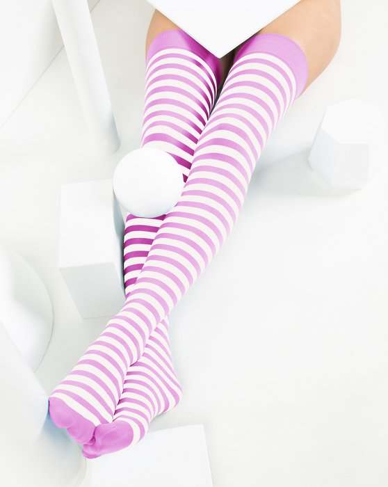 Orchid Pink White Striped Thigh Highs Style# 1505 | We Love Colors