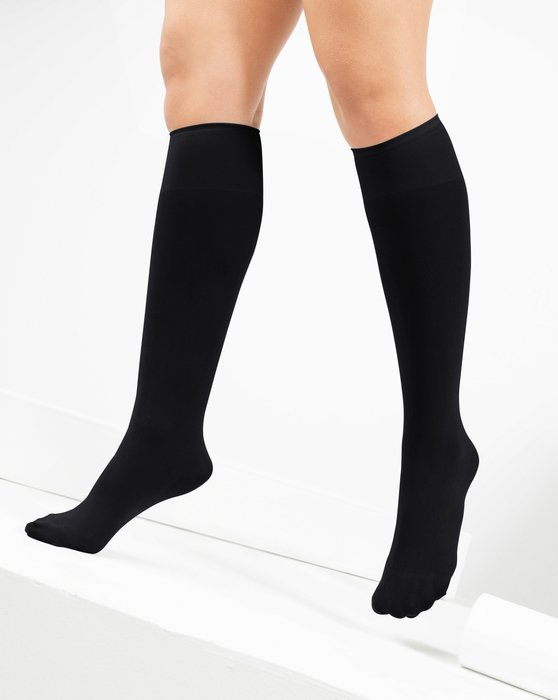 1532 Black Knee High Nylon Socks