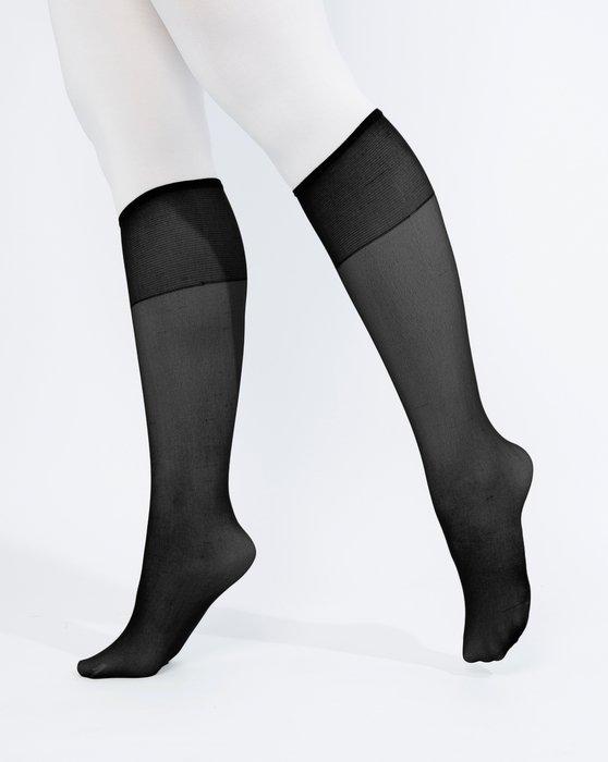 Fishnet Knee Highs Women BLACK Knee High Socks Trousers Socks With Plain Cuff-p