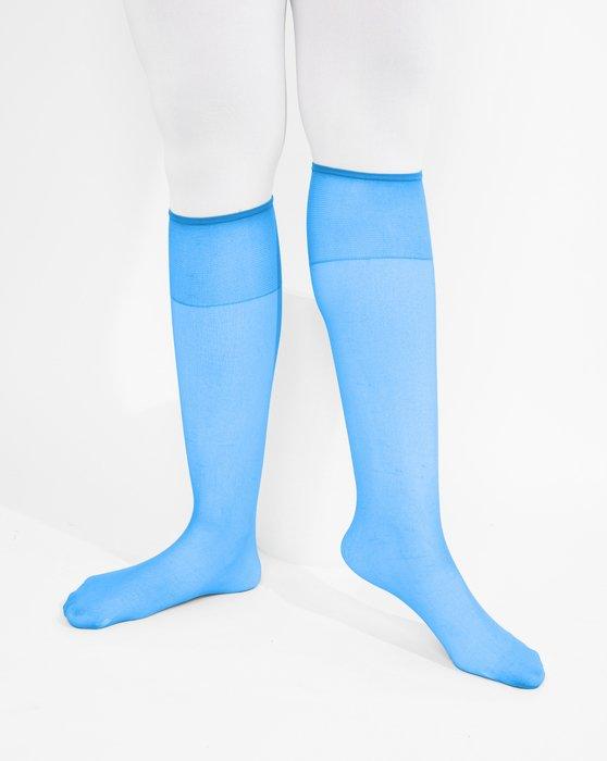 Medium Blue Sheer Knee Highs Style# 1536 | We Love Colors