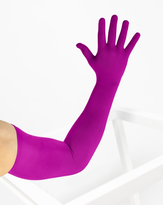 3607 Magenta Long Matte Knitted Seamless Armsocks Gloves