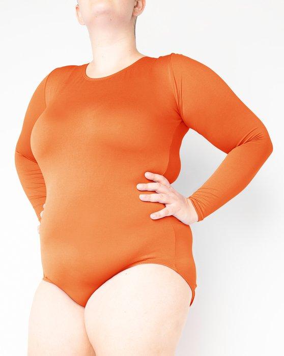 Orange Long Sleeve Scoop Neck Leotard Style# 5002 | We Love Colors
