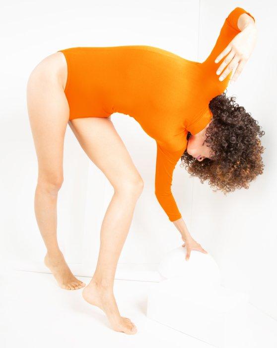Neon Orange Long Sleeve Mock Turtleneck Leotard Style# 5008 | We Love Colors