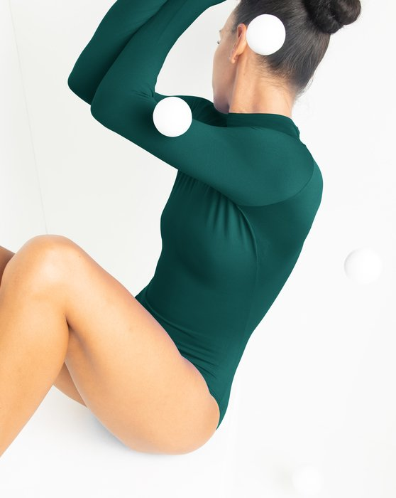 Spruce Green Long Sleeve Mock Turtleneck Leotard Style# 5008 | We Love Colors