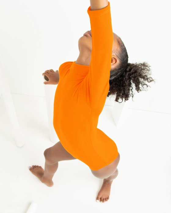 Neon Orange Kids Long Sleeve Mock Turtleneck Leotard Style# 5078 | We Love Colors