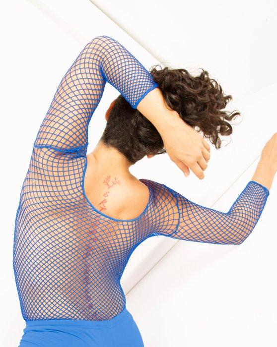 Medium Blue Fishnet Long Sleeve Shirt Style# 6001 | We Love Colors