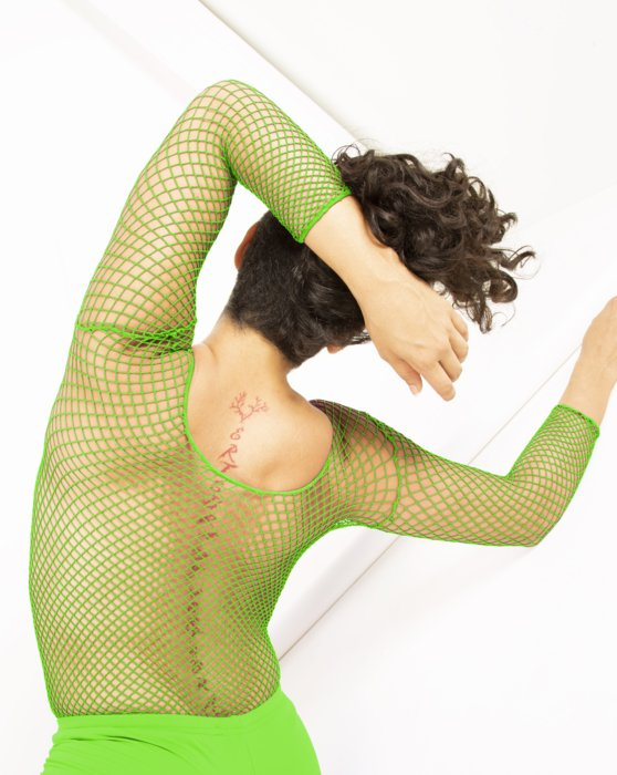 Neon Green Fishnet Long Sleeve Shirt Style# 6001 | We Love Colors