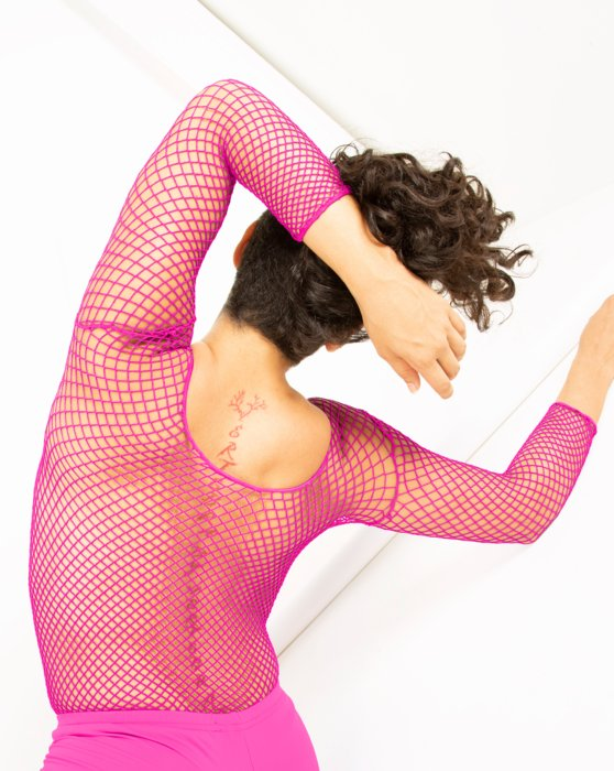 Neon Pink Fishnet Long Sleeve Shirt Style# 6001 | We Love Colors