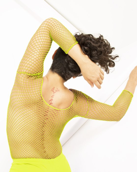 Neon Yellow Fishnet Long Sleeve Shirt Style# 6001 | We Love Colors
