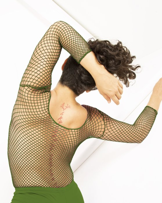 Olive Green Fishnet Long Sleeve Shirt Style# 6001   We Love Colors