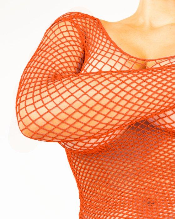 Orange Fishnet Long Sleeve Shirt Style# 6001 | We Love Colors