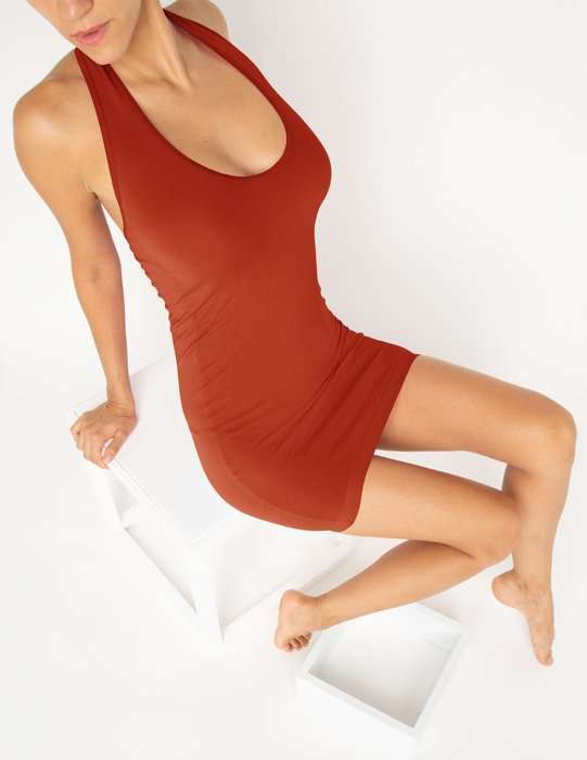 6025 W Rust Halter Dress