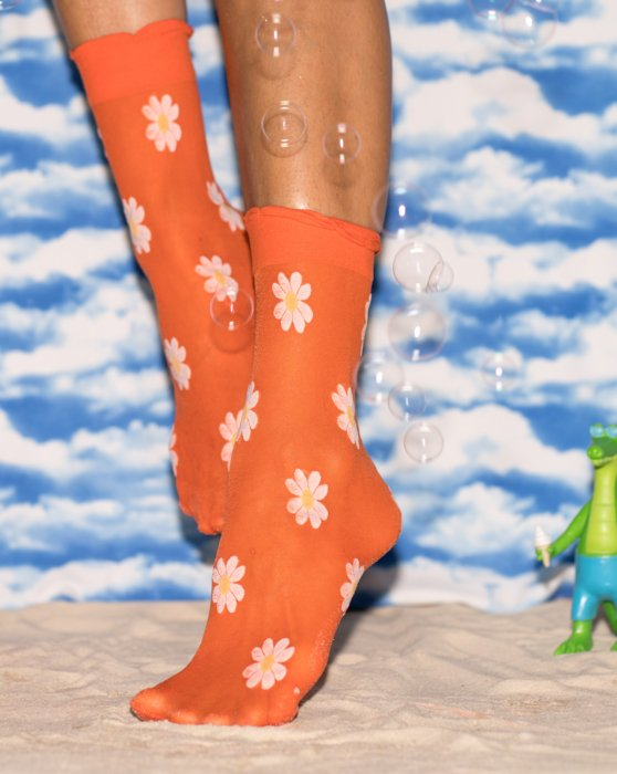 Kelly Green Colored Daisy Socks Style# 8601 | We Love Colors