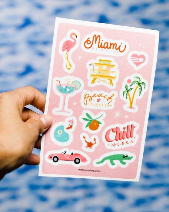 Violet Miami Florida Die Cut Sticker Sheet Style# 8602 | We Love Colors
