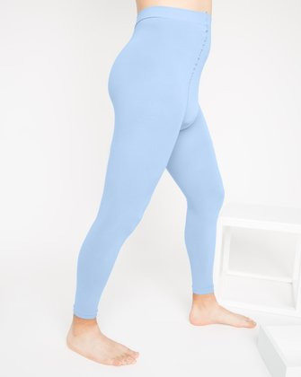 1025 Baby Blue Microfiber Footless Tights M