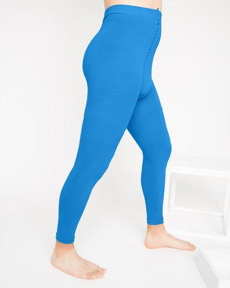 1025 Turquoise Microfiber Footless Tights M