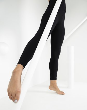 1025 W Black Footless Microfiber Tights