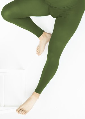1041 Olive Green Footless Tights M