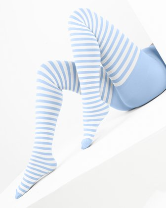 1203 Baby Blue Plus Size White Striped Tights