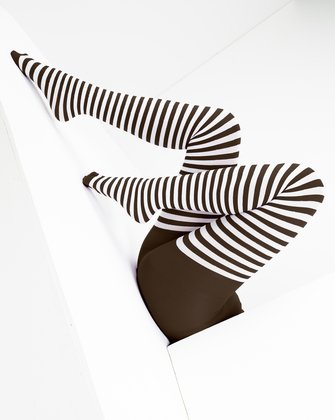1203 Brown White Stripes Brown Tights
