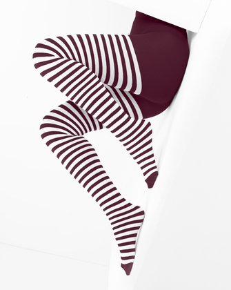 1203 Maroon White Stripes Tights