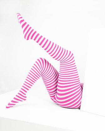 1204 Neon Pink White Striped Plus Sized Tights