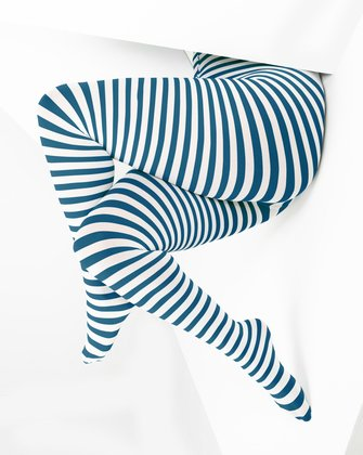 1204 Teal White Striped Plus Sized Tights