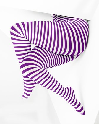 1204 White Stripes Amethyst Plus Size Tights