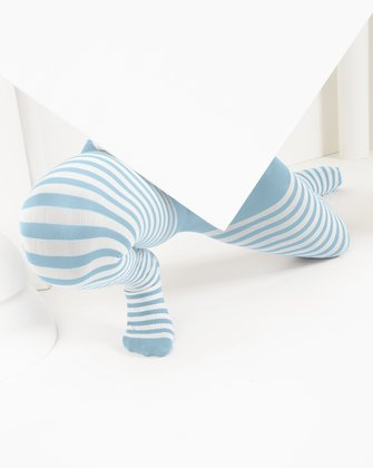 1273 Aqua Kids White Striped Tights