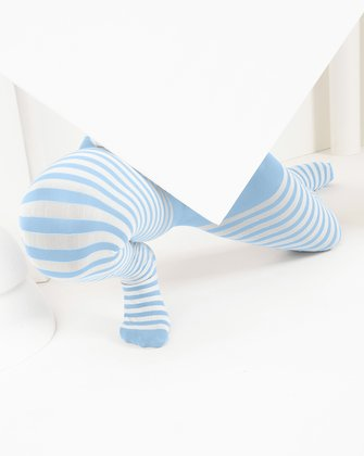 1273 Baby Blue Kids White Striped Tights_