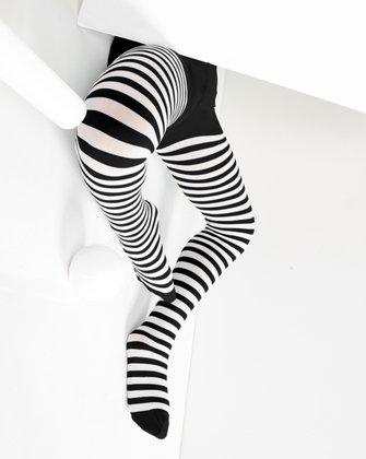1273 Black White Kids Striped Tights