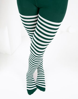 1273 Hunter Green Kids White Striped Tights