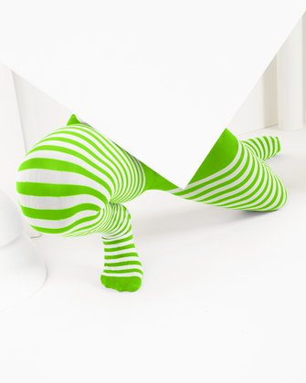 1273 Neon Green Kids White Striped Tights