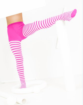 1273 Neon Pink White Kids Striped Tights
