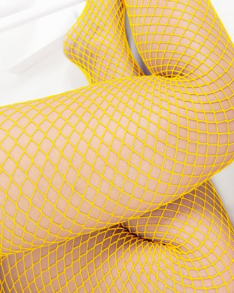1403 Wide Net Fishnets Yellow