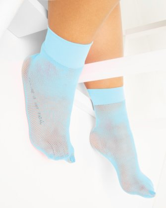 1429 Aqua Tiny Mesh Ankle Socks