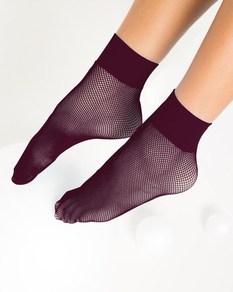 1429 Maroon Tiny Mesh Ankle Socks