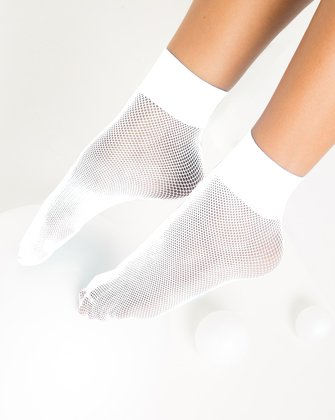 1429 White Tiny Mesh Ankle Socks