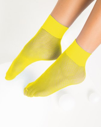 1429 Yellow Tiny Mesh Ankle Socks