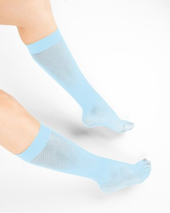 1431 Aqua Fishnet Knee High Socks