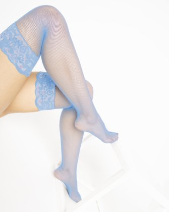 1485 Baby Blue Over Knee Lace Top Fishnets