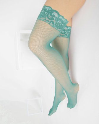 1485 Dusty Green Over Knee Lace Top Fishnets
