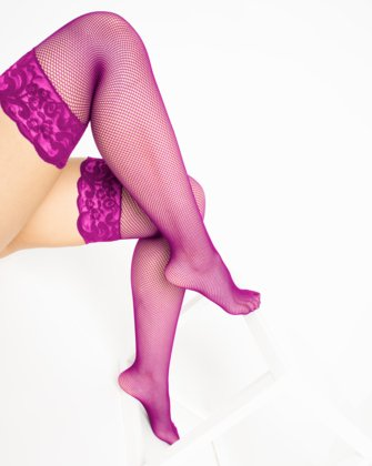 1485 Magenta Over Knee Lace Top Fishnets