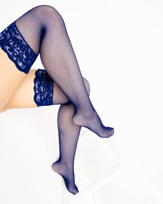 1485 Navy Over Knee Lace Top Fishnets