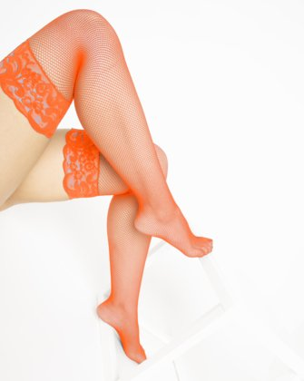 1485 Neon Orange Over Knee Lace Top Fishnets
