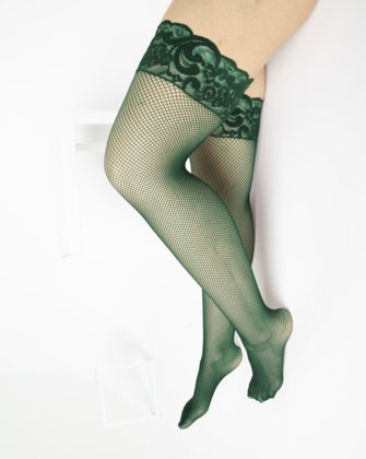 1485 Scout Green Over Knee Lace Top Fishnets