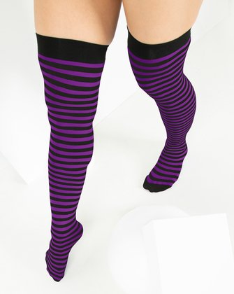 1503 Amethyst Black Striped Thigh Highs