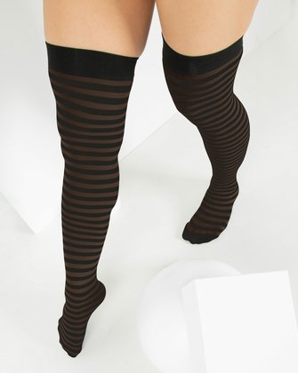 1503 Brown Black Striped Thigh Highs
