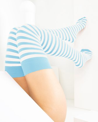 1505 Aqua White Striped Thigh Highs