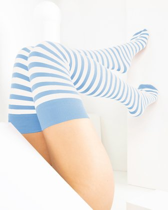 1505 Baby Blue White Striped Thigh Highs